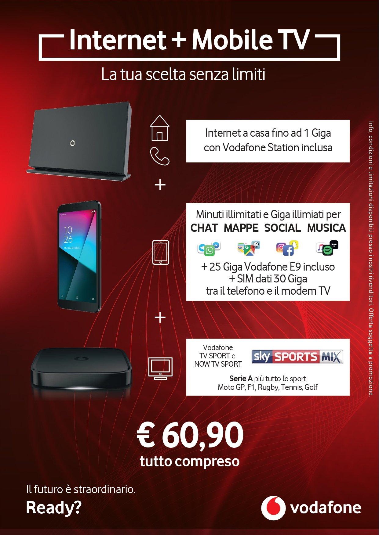 Fibra+smartphone+tv!estate Vodafone!